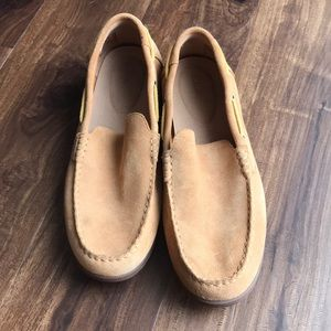 Tan Clark's loafers